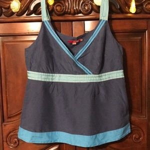 Boden Ocean blues Silk Belen tank top size 12